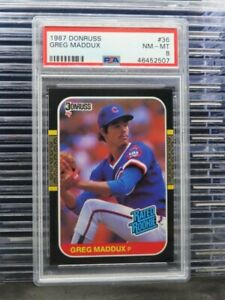 1987 Donruss Greg Maddux Rated Rookie RC #36 PSA 8 Cubs (07) N42