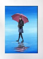 ORIGINAL WATERCOLOUR PAINTING, LADY IN THE RAIN, UMBRELLA Sarah Featherstone ART