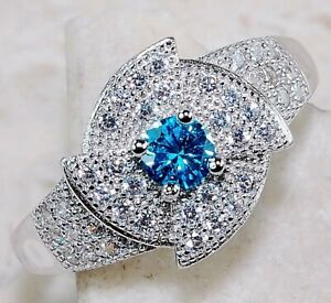 1CT Aquamarine & Topaz 925 Solid Sterling Silver Ring Jewelry Sz 6