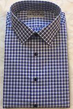 MURANO Men's Blue White Checked Dress Shirt 17-34 Slim Fit NWT $59 New SHARP
