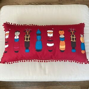 NEW Crate & Barrel Embroidered Holiday Feather Pillow International Diversity