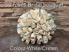wedding bridal bouquet wooden roses white/cream