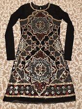Chelsea & Violet Black Gold & Maroon Sequin Statement Long Sleeve Dress Size XS