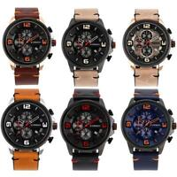 CURREN Men's Calendar Big Font Dial Watch Leather Band Analog Quartz Wristwatch