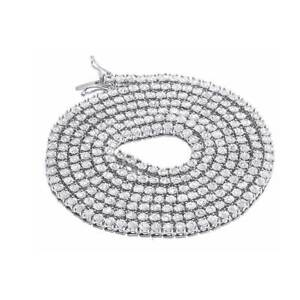 Real 14k White Gold Over 1 Row Simulated Chain Necklace 3.5mm 24 ins 1.75 Ct