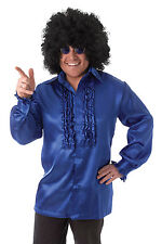 Mens Satin Blue Shirt with Ruffles Comedy Fancy Dress Costume Dancing Outfit New