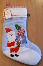 New Pottery Barn Kids QUILTED SANTA & PRESENTS Christmas Holiday Stocking