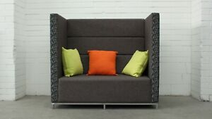 Office/Home OSA 2 Seat Privacy Booth Brown/Grey Patterned Fabric 38596