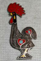 Vintage Topazio Cloisonne Enamel Rooster Cock Sterling .925 Silver Brooch Pin