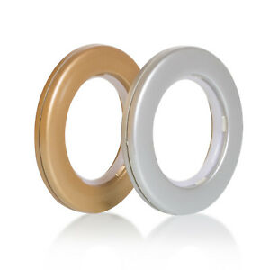 10 x Eyelet Curtain Rings for Curtains with Eyelets Matt Gold / Silver Low Noise