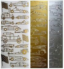 CARS Peel off Stickers Sports Classic Drag Racing Checkered Flag Gold or Silver