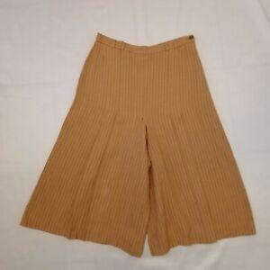 Vintage Retro Linen Cullottes 10 12 M Peach Orange Pin Striped Pleated Trousers