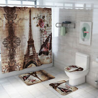 Eiffel Tower Shower Curtain Bathroom Rug Set Skidproof Toilet Lid Cover Bath Mat