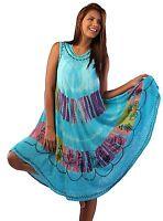 Womens Umbrella Dress Ladies Summer Tie  Dye Embroidery Beachwear Dress Top Blue