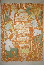 Maurice Savin Lithographie signée numérotée les vendanges le vins le raisin