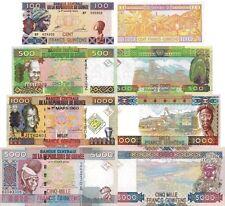 LA GUINÉE - Lot 4 billets de banque 100/500/1000/5000 Francs FDS - UNC