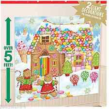 GINGERBREAD HOUSE CHRISTMAS SCENE SETTER PHOTO BACKDROP WALL DECORATION LOLLIES