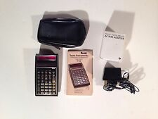 Vintage TI-55 Texas Instruments Scientific Calculator Red LED AC charger Case
