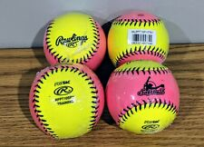 "Rawlings 10"" Training Softball Lot Protac Hot Pink & Yellow #Rfpt10Spy 4 Count"