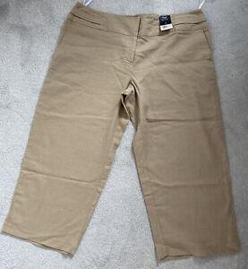 Bnwt F & F Boack Label Nutmeg Linen Cropped Trousers 16