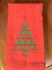 Embroidered Velour Hand Towel - Christmas Tree W/Snowmen, Hearts & Trees