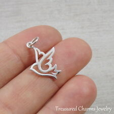 925 Sterling Silver Peace Dove Charm - Bird Pendant Jewelry NEW