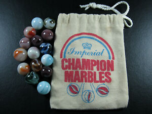 Imperial Champion Marbles Bag and 15 Champion Marbles -.56 to .66 inches