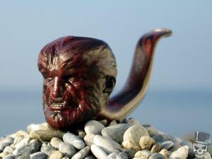 Briar Wood Portrait Tobacco Pipe Bust of Wolf Man by Oguz Simsek