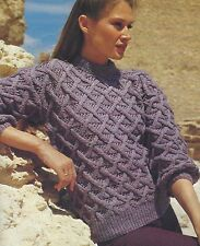 "Ladies Sweater Knitting Pattern Lattice stitch 32-40"" DK 849"