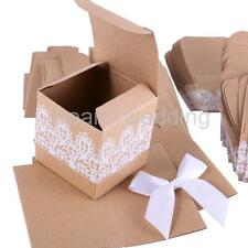 50Pcs Kraft Paper Candy Gift Boxes Bow Lace Ribbon Wedding Party Favor