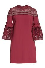 NEW Ted Baker Lucila Bell Sleeved Tunic Dress in Maroon - Size 1 US 4 #TED195