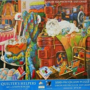 "PUZZLE- JIGSAW SUNSOUT RARE JOSEPH BURGESS ""QUILTER'S HELPERS"" CATS 1000 PCS NIP"
