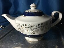 NEW GRACE'S TEAWARE WHITE+ROYAL BLUE+METALLIC GOLD FLORAL TEA,COFFEE POT,TEAPOT