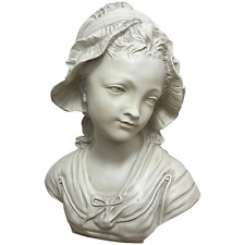 More details for fine french classical young lady wearing bonnet bust faux marble wall sculpture