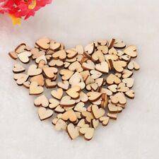 100pcs Rustic Wooden Love heart Decor Vintage Chic Craft Scrapbook Confetti Wedd