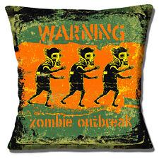 "WARNING ZOMBIE OUTBREAK PRINT GREEN ORANGE BLACK 16"" Pillow Cushion Cover"
