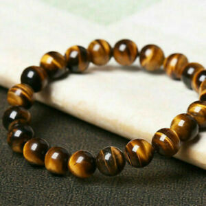 Natural 8mm Yellow Tiger's Eye Gemstone Round Beads Bracelet 7.5'' AAA+