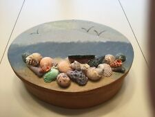 Sea Shell Decorative Case - 3 inches tall, 8 wide - veneer wood