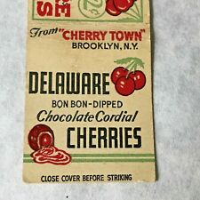 Vintage Matchbook Delaware Cherries Maryland Match Book Brooklyn NY Cherry Town