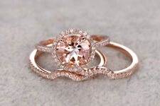 Bridal Morganite Diamond Engagement Ring Wedding Sets Womens Band Rose Gold Over