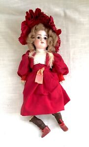 """Antique AM Armand Marseille 1894 Jointed Bisque Doll Brown Glass Eyes 14-1/2"""""""
