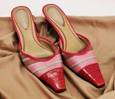 LIZ CLAIBORNE Shangrila Red Gator Skin Woven Low Heel Pumps Women