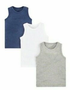 BNWT Mothercare Boys Navy Blue Grey White 3 Pack Multi pack Sleeveless Vests NEW