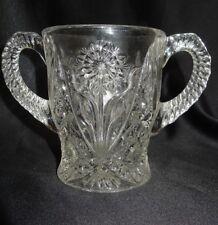 Vintage Imperial Glass Crystal Cosmos Double Handle Open Spooner Sugar Bowl