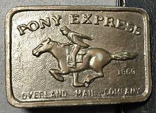 VINTAGE PONY EXPRESS BRASS BELT BUCKLE, 1860 Overland Mail Company