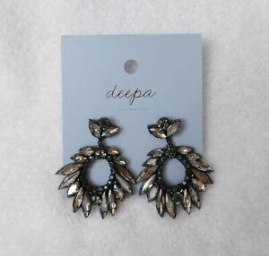 J110 Deepa Gurnani Gray Tone Crystal Drop Earrings