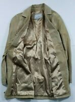 Wilsons Maxima Suede Long Leather Jacket Tan Gold Lining SZ Medium belt coat