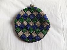 Antique Korean Seed Bead Coin Purse Wallet Blue Green White Clutch Silk lining