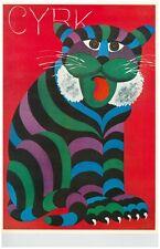 Hubert Hilscher Polish Pop Artist Cyrk Poster Colorful Tiger or Lion 1970 Poster