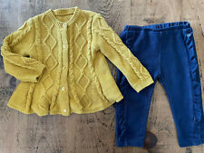 Baby Girl 9-12 months Nutmeg Blue Ruffle Jeggings Mustard Cable Knit Cardigan